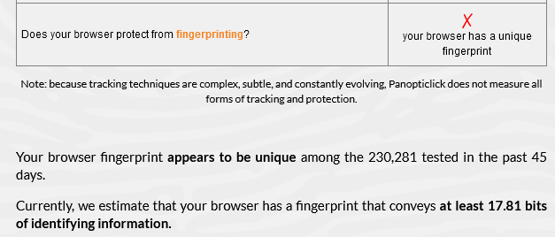 firefox's results on panopticlick - my browser has a unique fingerprint